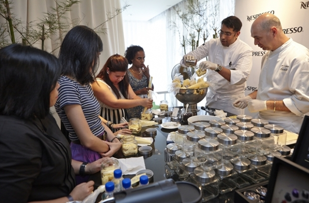 Guests trying their hand at making their own Nespresso coffee infused Tiramisu
