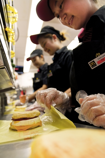 NBD - McDonald's crew preparing Egg McMuffins